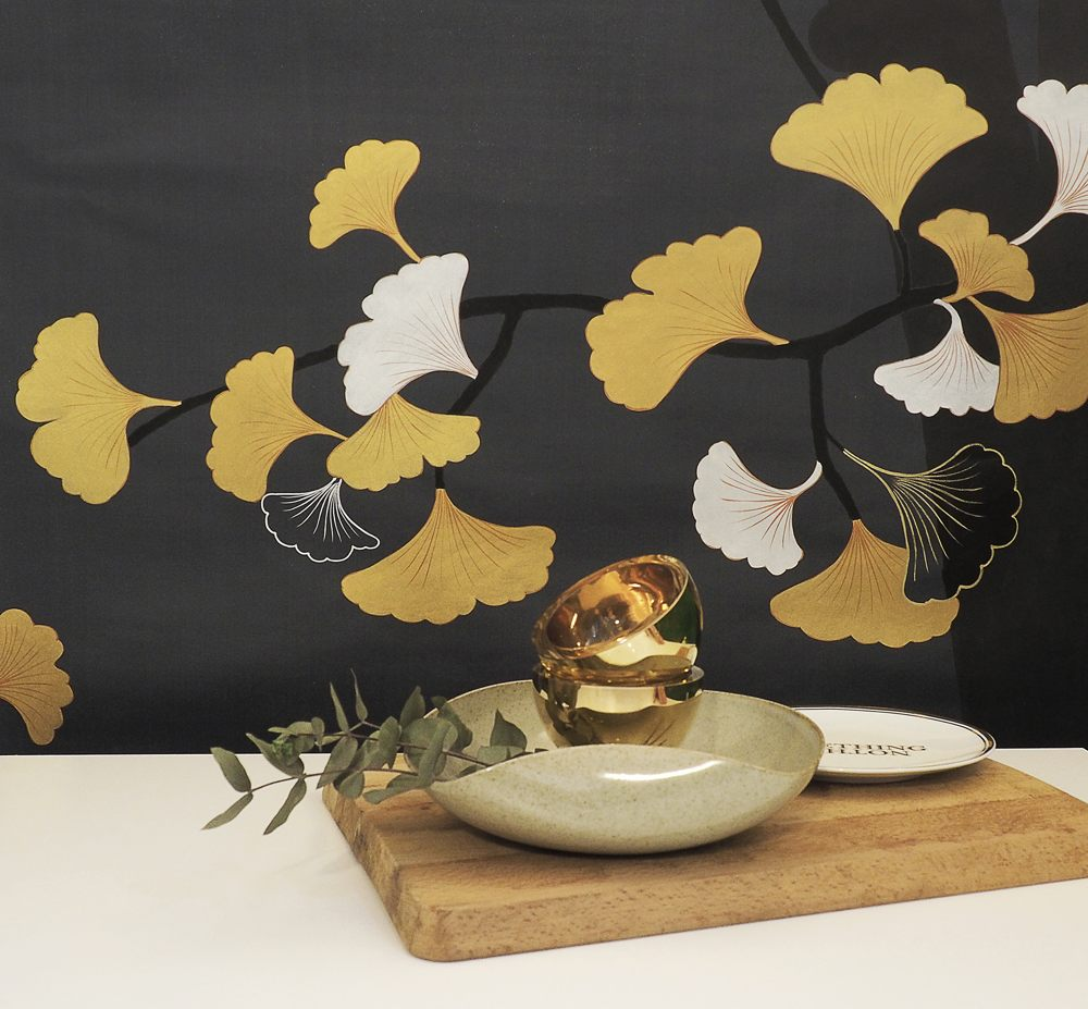 Ginkgo hand painted silk wallpaper for living room