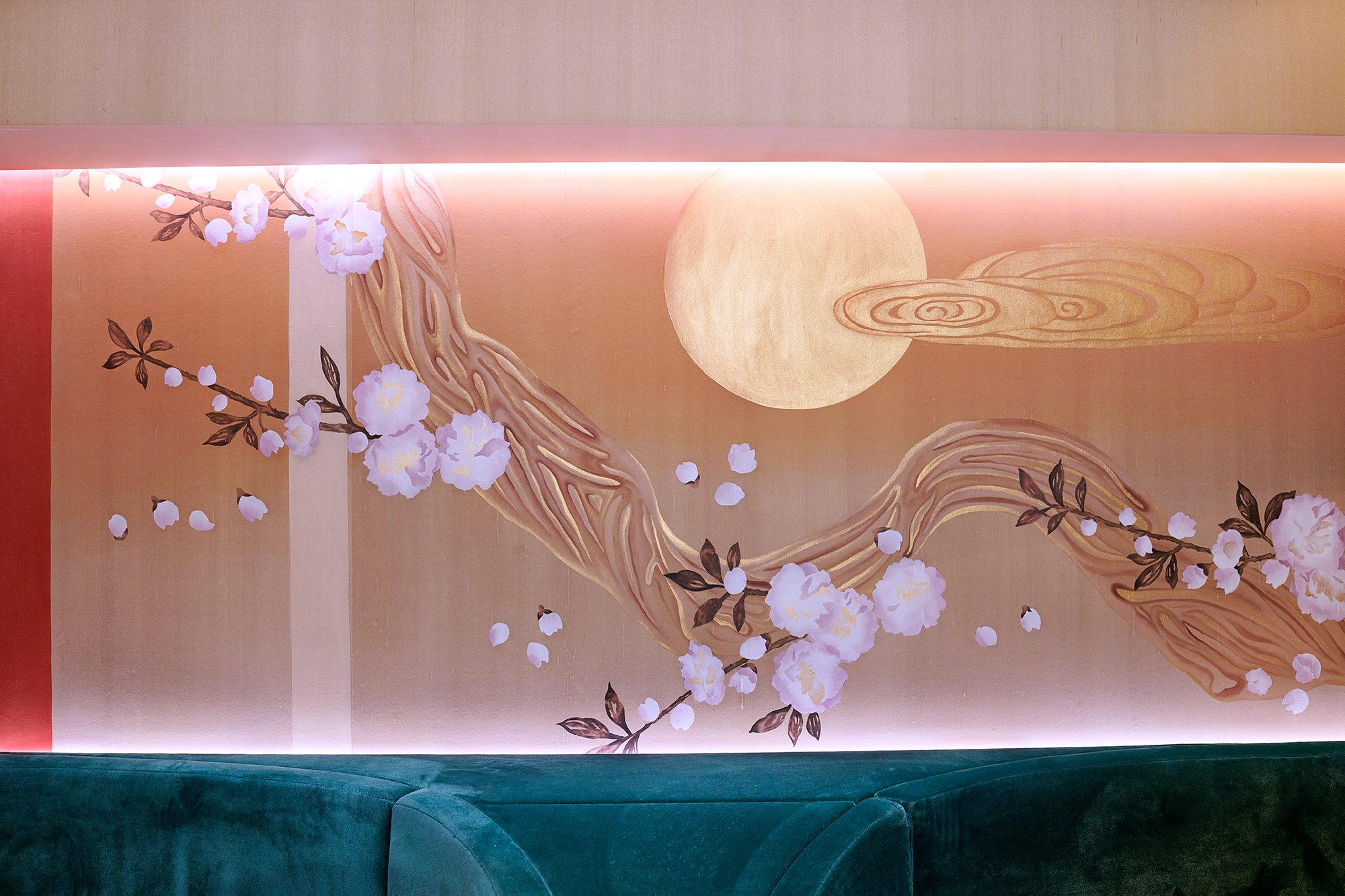 cherry flower hand painted wallcoverings for interior restaurant